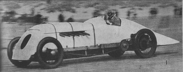 Mr J.G. Parry Thomas breaking the world land speed record at Pendine Sands on April 28, 1926. Driving Babs