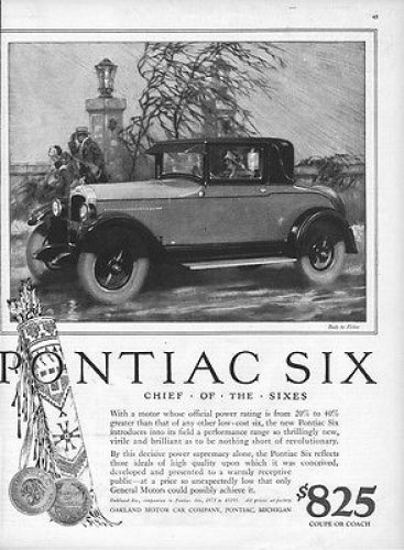 1926 Pontiac 'Chief of the Sixes' advertisement