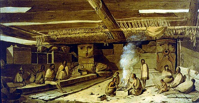 American Indian Longhouse Interior