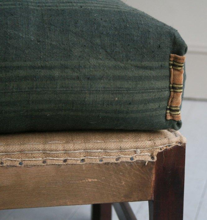 Vintage Striped Linen Mattress Cover Green