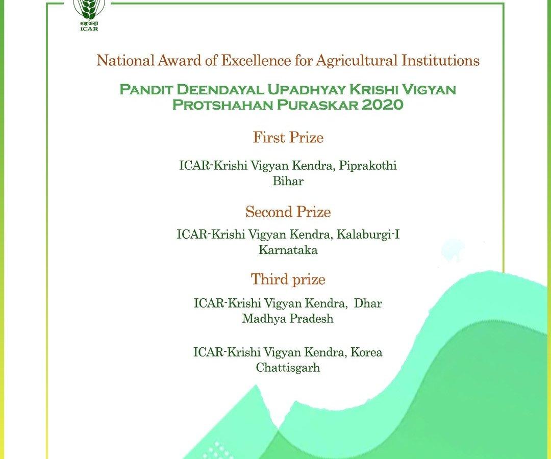 कृषि विज्ञान केन्द्र कोरिया, वर्ष 2020 के पंडित दीनदयाल उपाध्याय कृषि विज्ञान राष्ट्रीय प्रोत्साहन पुरस्कार से सम्मानित