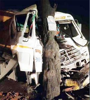 तेज रफ्तार ट्रेलर अनियंत्रित होकर पेड़ से जा टकराई