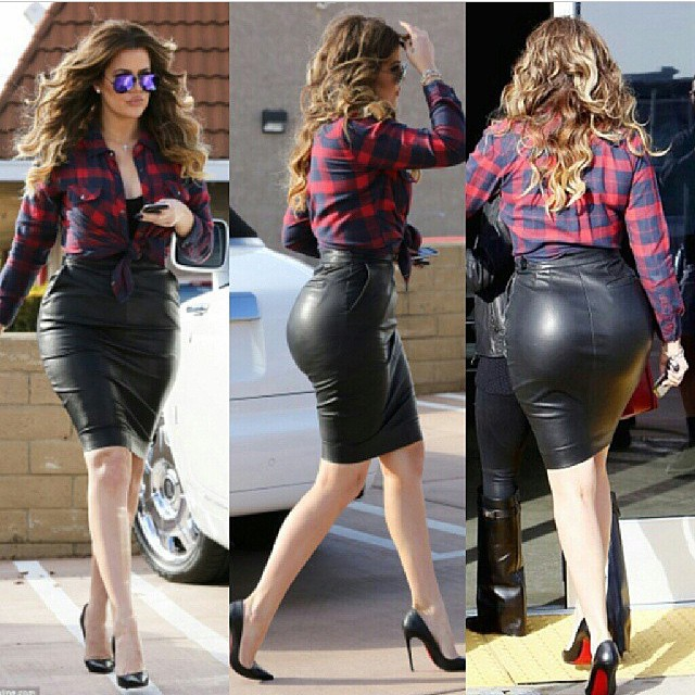 Checkout Khloe Kardashians Big Behind In Tight Leather -6843