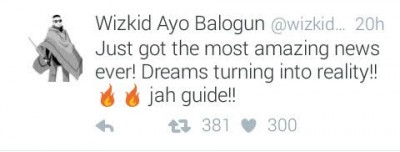 Wizkid Leaves His Fans Guessing After Dropping A Hint On A New Achivement Via Twitter