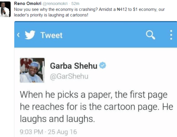 Check Out Reno Omokri's Reply To Garba Shehu's Tweet About President Buhari