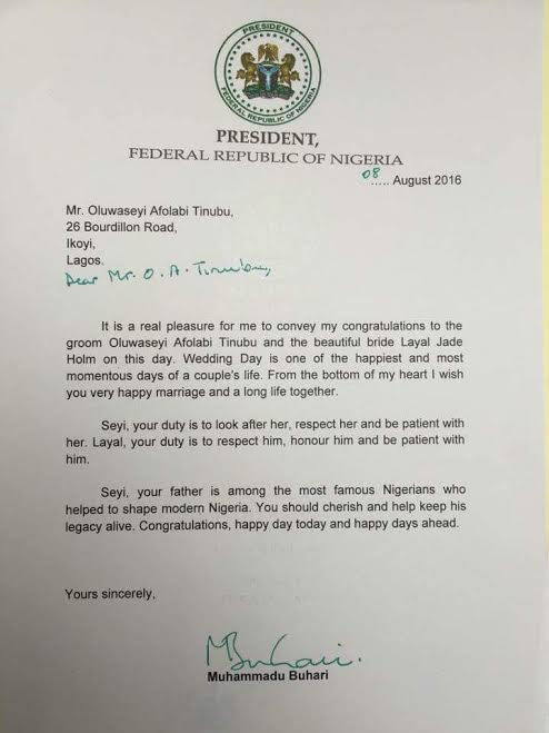 Newly Wedded, Seyi Tinubu Receives Presidential Congratulatory Letter From Buhari
