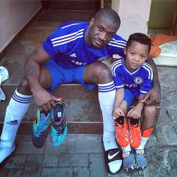 Image result for Photos of peter okoye and son in Barcelona Academy
