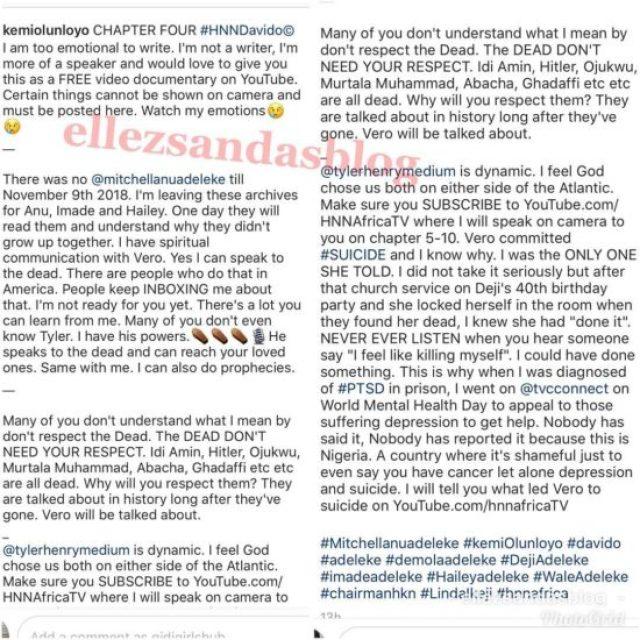 Kemi Olunloyo Narrates How Davido's Mum committed suicide.