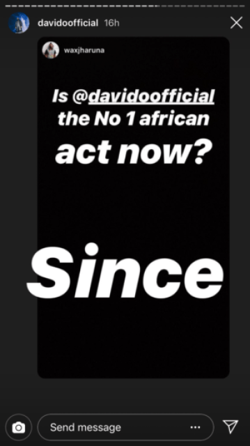 Wizkid My Foot! Davido Tells Fan He Is Africa's Number 1 Artiste