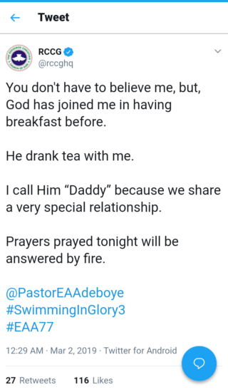 """""""God Has Drank Tea With Me Before"""" – Says Adeboye. Daddy Freeze Reacts"""