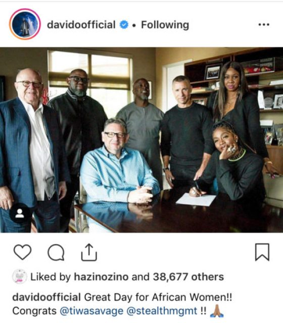 See What Davido About Tiwa Savages's New Record Deal