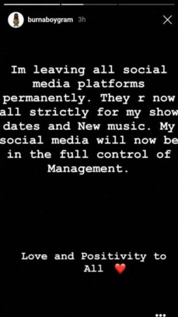 Burna Boy Quits Social Media After This Happened To Him