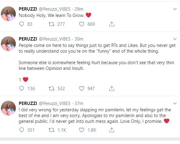Davido and Peruzzi apologizes to Pamilerin after he was slaped by Peruzzi