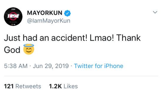 Mayorkun Involved In Car Accident
