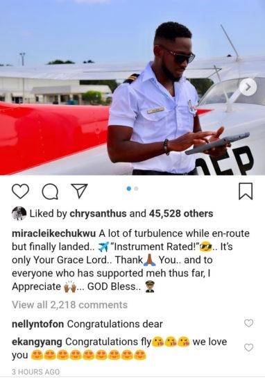 BBNaija 2018 Winner, Miracle Becomes A Certified Pilot