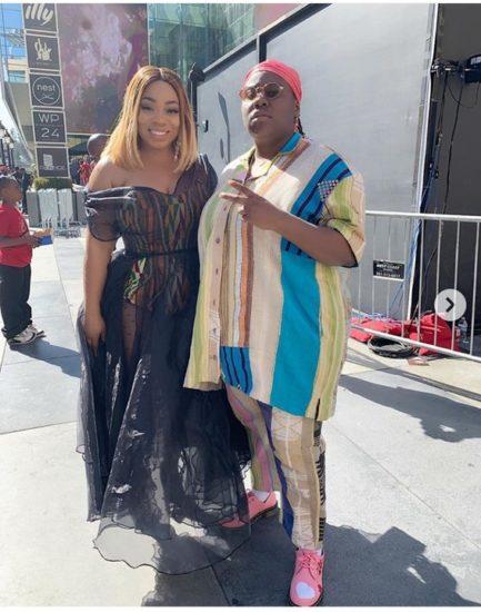 Teni's Poses With Ghanaian Actress, Moesha At BET Awards