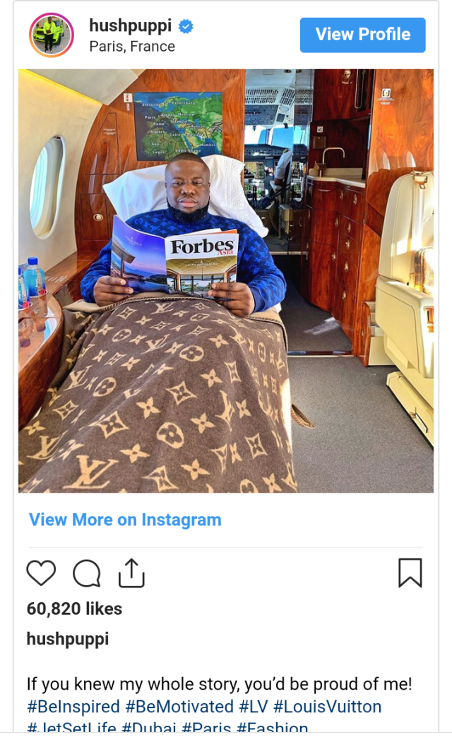 Hushpuppi flies private jet at N25.2 million to Paris after missing flight
