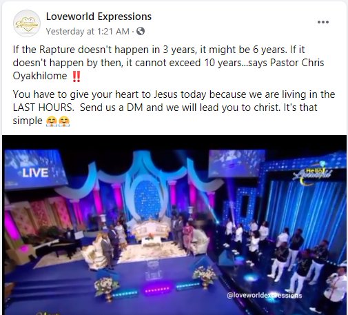 """""""Rapture won't exceed 10 years"""" – Pastor Chris Oyakhilome predicts 2"""