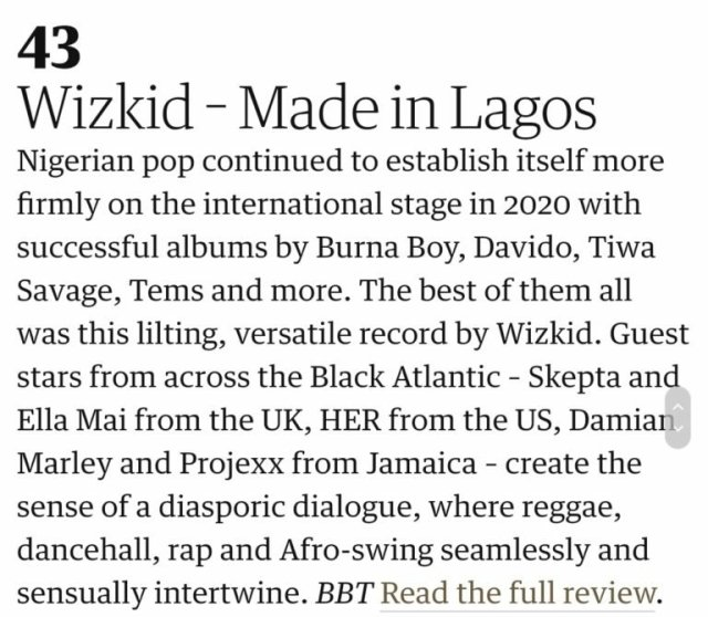 """Wizkid's """"Made In Lagos"""" makes The Guardian UK's 'Top 50 Best Albums Of 2020' 2"""
