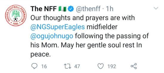 Super Eagles star, John Ogu looses Mum; Mourns her on Twitter 5