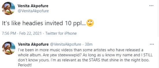 Venita seems to be disappointed in the Headies awards organizers because she didn't get an invite 2