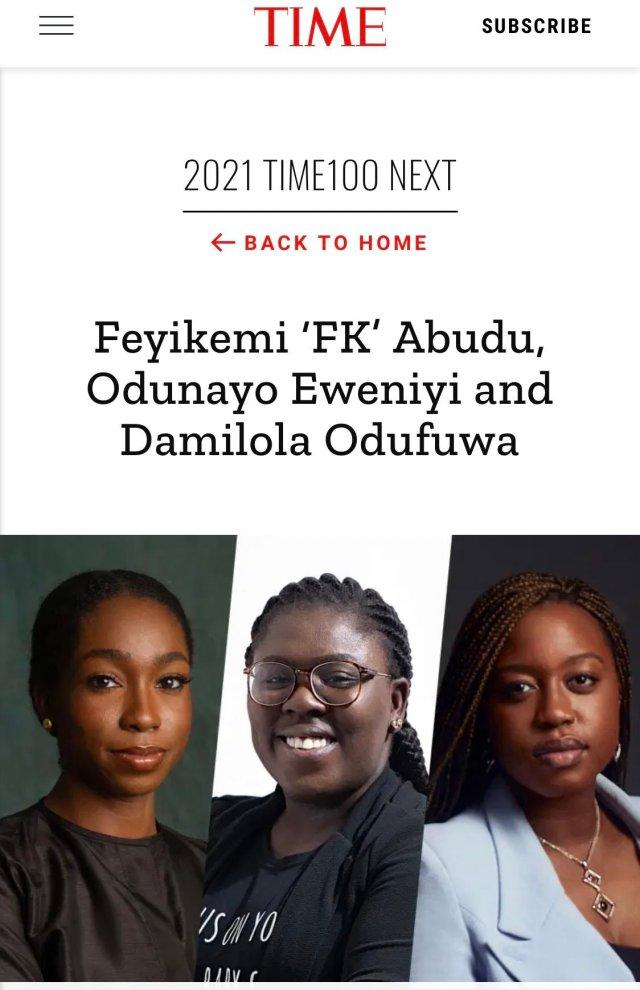 """Davido, FK Abudu, Olugbenga Agboola, Odunayo Eweniyi make TIME """"100 Next"""" 2021 List 2"""