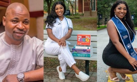 MC Oluomo's daughter, Nofisat becomes a registered nurse in US state of Georgia 1