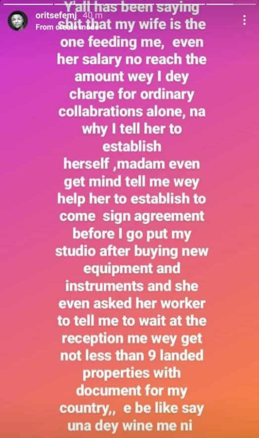 """""""Even her salary no reach"""" Oritsefemi reacts to allegations his wife Nabila is the one 'feeding' him 2"""
