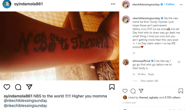 """Actress Nkechi Blessing Sunday tells fan who tattooed her name on her hand that she only has an """"IG Post"""" to give her 2"""