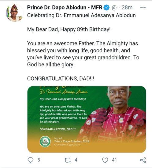 Ogun Governor, Dapo Abiodun Celebrates His Father's 89th Birthday (Photo) 2