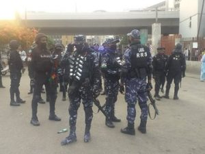Heavily armed Police officers takeover Lekki tollgate ahead of a planned protest 1