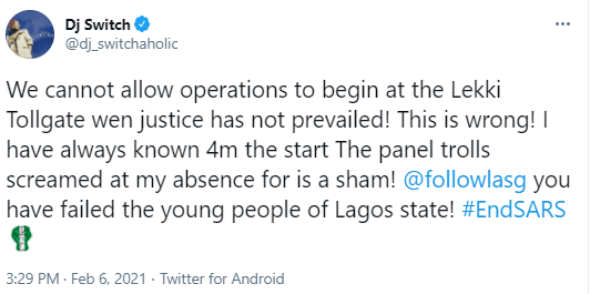 """""""We cannot allow operations to begin at the Lekki Tollgate when justice has not prevailed""""- DJ Switch 2"""