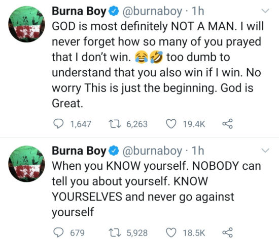 """""""I'll never forget how so many of you prayed that I don't win"""" – Burna Boy says he won Grammy on his own 3"""