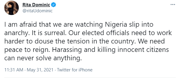 Rita Dominic expresses concern over Nigeria slipping into anarchy 2