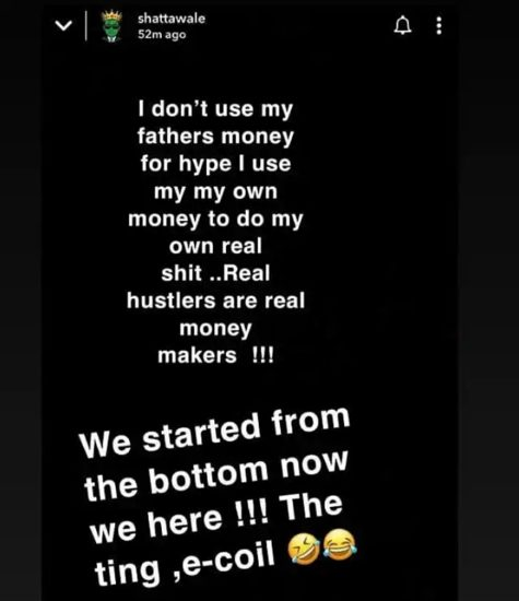 'I Don't Use My Father's Money For Hype' – Ghanaian Singer, Shatta Wale Shades Davido 2