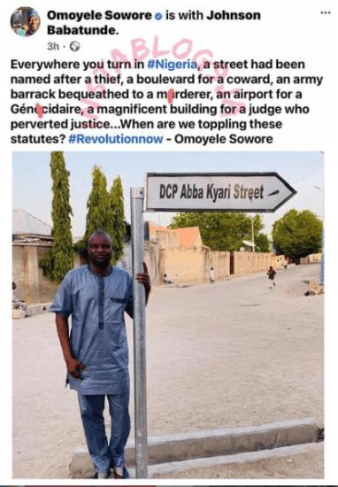 Activist, Omoyele Sowore Shades Abba Kyari