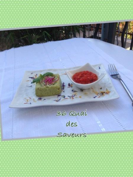 Terrine de courgettes, basilic et concassée de tomates