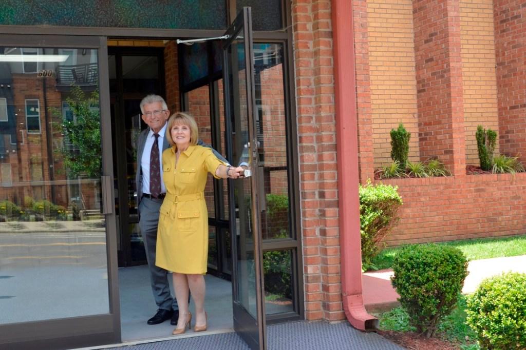 John and Sheri Major greeting at the door