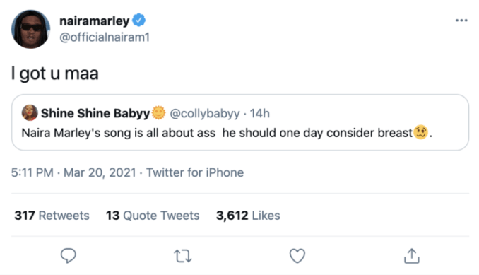 Naira Marley responds as a fan pleads with him to do a song about Brea$t
