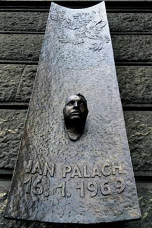 Jan Palach memorial plaque