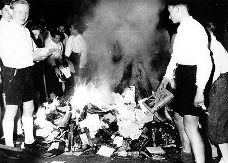 Children burning books