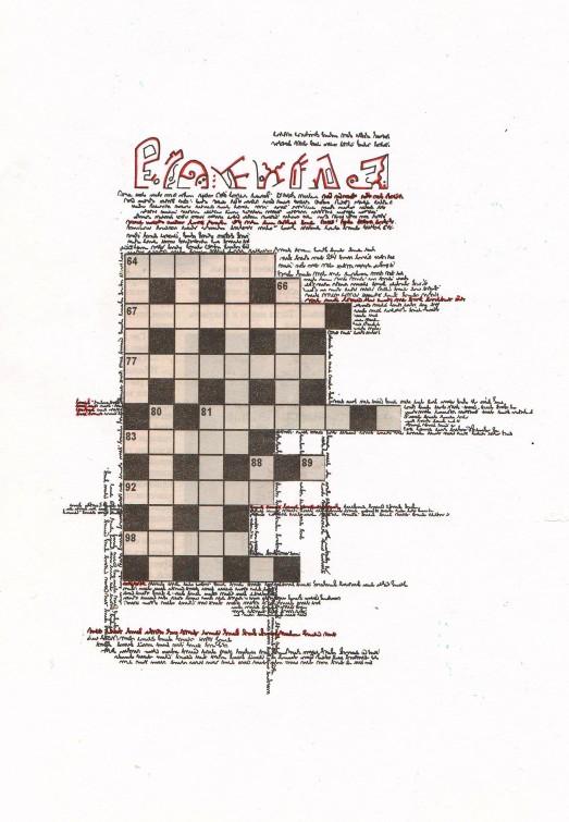 crossword1_2013_A4 paper, newspaper, gel pen, collage