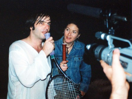 Ondi with Anton Newcombe filming DIG!