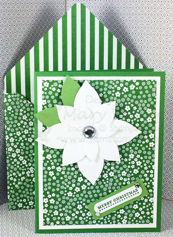 Garden Green with White Poinsettia Christmas Card - vissit http://www.3amstamper.com