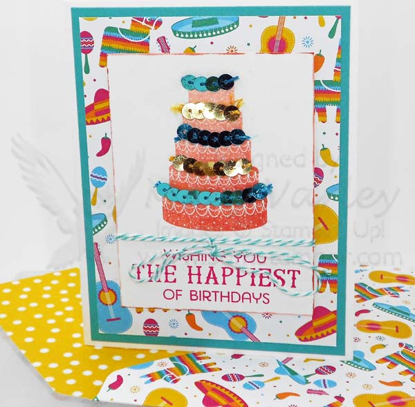 Sequined Birthday Cake Card = Visit http://www.3amstamper.com