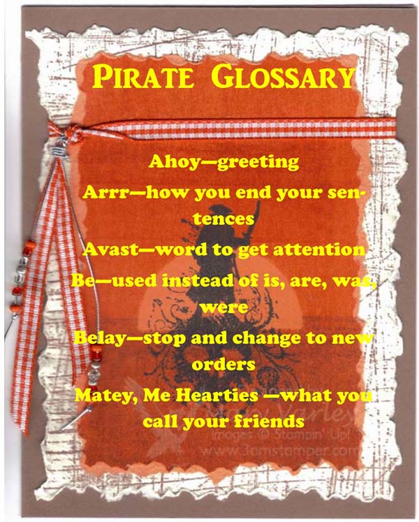 Talk Like a Pirate Day Glossary - visit http://www.3amstamper.com