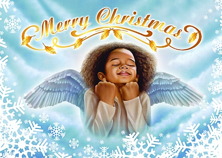Angel Merry Christmas Cards African American Christmas