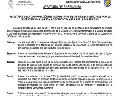 Comprobación pago tasas Oposiciones Guardia Civil 2017 3CATORCE academia cantabria santander oposiciones
