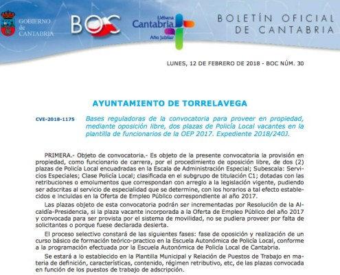 Convocatoria Oposiciones Policia Local Torrelavega