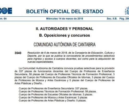 Convocatoria oposiciones Secundaria Cantabria 2018